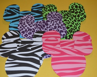 """Mickey Mouse Die Cuts (20) 4"""" in Animal Prints"""