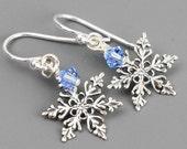 Sterling Silver Snowflake Earrings - Winter Wedding - Swarovski Crystal Drop Earrings - Swarovski Earrings - Christmas Earrings