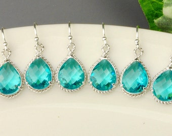 Bridesmaid Jewelry Set of 3 Earrings for Bridesmaids - Gifts for Bridesmaids - Teal Earrings Silver - Wedding Jewelry Set - Bridal