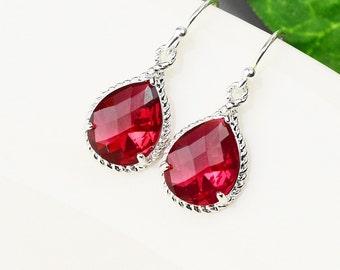 Red Earrings - Silver Dangle Earrings - Glass Earrings -  Crystal Drop Earrings - Wedding Jewelry - Bridesmaids Earrings - Crystal Jewelry
