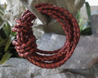 3 Yd Terracotta Leather Lace Braided Bolo Cord 3MM Red Brown Rustic