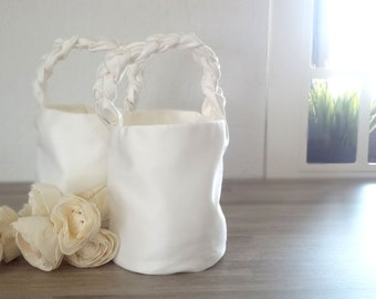 Two Flower Girl Baskets - White flower girl Baskets - bridal accessories