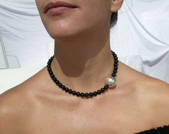 jet and silver ball necklace choker