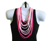 VALENTINE FABRIC NECKLACE, Pink Tshirt Scarf, Hot Pink, Bubble Gum Pink, Pale Pink. Ready to Ship (See Pic #4 for Optional Styling)