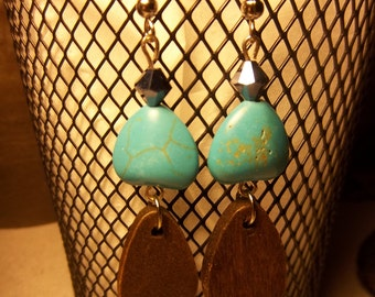 Turquoise and wood dangling earrings