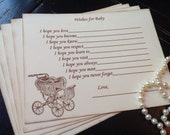 Gender neutral wish cards-vintage paper goods-pram-carriage-Wishes for baby-gender neutral shower-fill in the blank game-set of 12