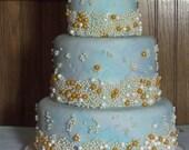 Fondant Faux Ocean-feel 3-Tier Cake