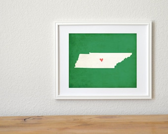 Tennessee State Art Silhouette Map Personalized Print