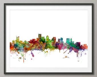 Boston Skyline, Boston Massachusetts Cityscape Art Print (1205)