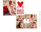 INSTANT DOWNLOAD  - Valentine Card Photoshop Template - Pink xoxo- E295