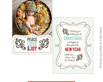 INSTANT DOWNLOAD - Photoshop Christmas Holiday Card Template - Joyful - E203