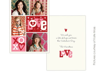 INSTANT DOWNLOAD -  Valentine Card Photoshop Template - Crazy Love- E297