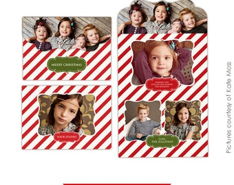 INSTANT DOWNLOAD - Holiday Folded Luxe Card Template - Vintage Classic 5x7- E236