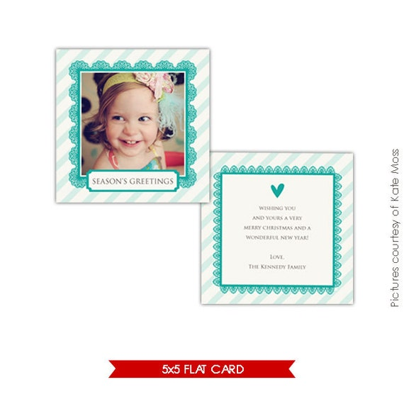 INSTANT DOWNLOAD  - Holiday Card Photoshop Template - Turquoise heart - E211
