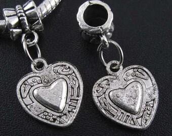 European Charm, Heart Dangle Charm, Antique Silver Tone -   Ts308