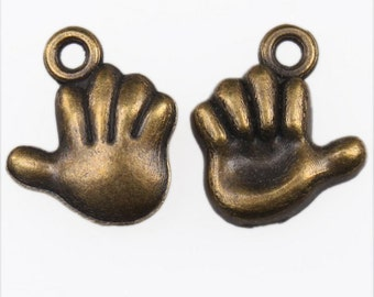 8 Hand Charms Antique Bronze Tone 12 x 11 mm - bz226