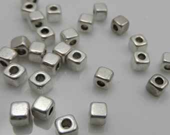 Cube Spacer Bead, 50 Beads Antique Silver Tone metal 3 mm Square - sp012