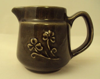 Vintage Moss Green Creamer with Shamrocks Made in N. Ireland