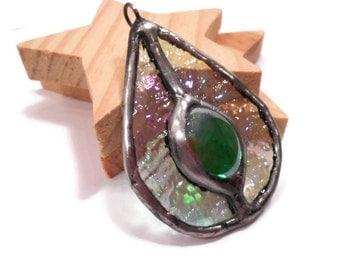 Stained Glass Pendant Jewelry Emerald Teardrop Pendant Handmade Glass and Metal Jewelry Handmade Jewelry Necklace Green Teardrop Pendant