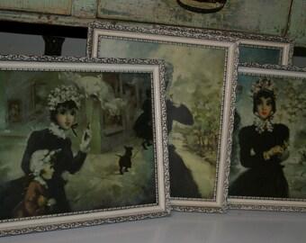 Mid Century Boudoir Prints Vintage Parisian French Girl Prints Set of Four