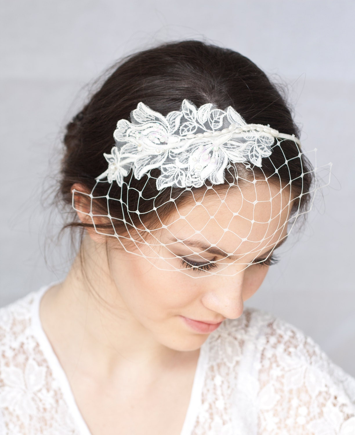 Bridal Ivory Birdcage Veil With Lace Wedding By