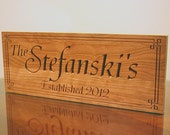 5th Anniversary Gift, Mr And Mrs Last Name Sign, Benchmark Custom Signs Cherry EF