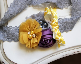 Mustard, Grey and Amethyst headband, grey headbands, mustard headbands, newborn headbands, photography prop