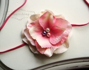 Pink Flower headband, baby flower headbands, pink headbands, baby headbands, newborn headbands, photography prop