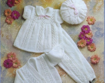 Baby DK 8ply Light Worsted Dress leggings Cardigan and hat sizes 16 - 22 ins -Jarol 982-   PDFof Vintage Baby Knitting Patterns