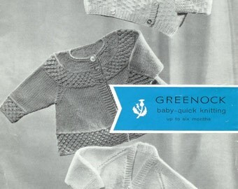 Baby  Qk 8ply Crossover Cardigan and Matinee Jackets   0 to 6 months  - Greenock 717 - PDF of Vintage Knitting Patterns