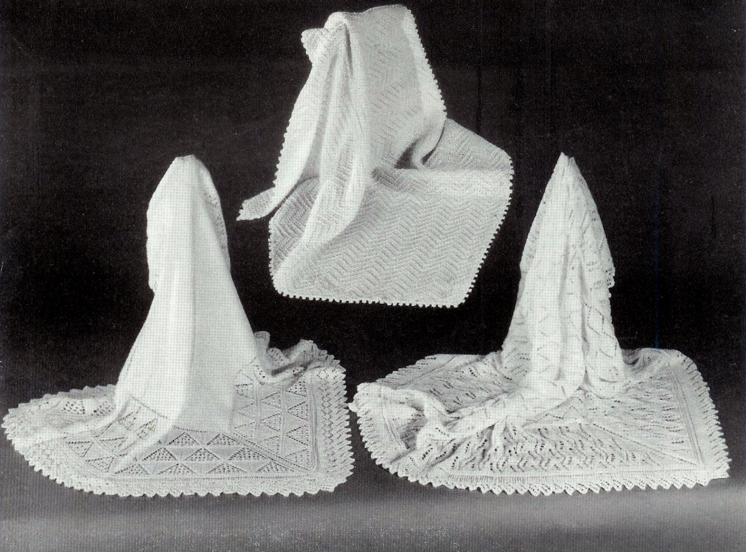 Knitting Patterns For Christening Shawls : Baby Christening Shawls 3 styles in 3ply sizes 50x50 56x56