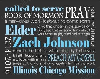 Custom Personalized LDS Missionary Gift Poster Printable Digital Subway Art 11x14 plus bonus!