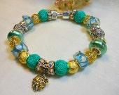 Mom Bracelet, Mint Green Bracelet, European Charm Bracelets, Aqua Blue and Deep Minty Green Bracelet, Ladies Beaded Bracelet