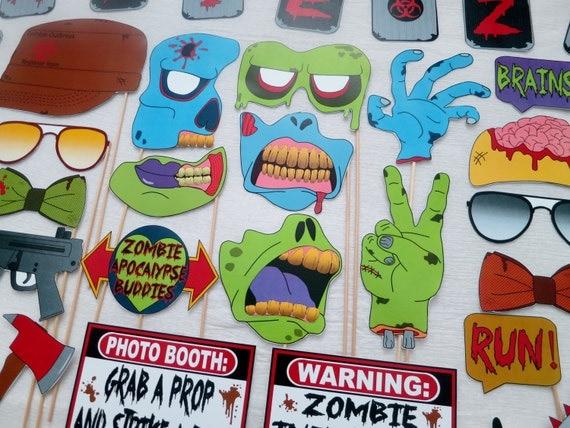 pdf zombie apocalypse photo booth props printable diy - Zombie Props