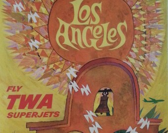 Original TWA travel poster by David Klein for Los Angeles 1960's