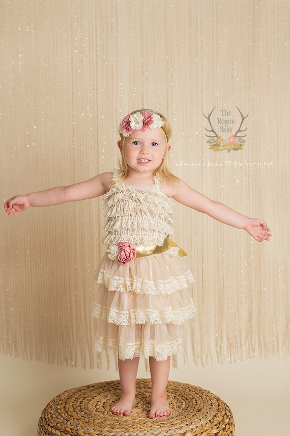 Cream Lace Ruffle Dress, Sash & Headband Set Gold Ivory Dusty Rose Flower Pearl Glitter Floral Crown Baby Toddler Flower Girl Bridal