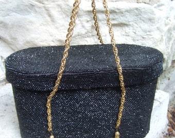 Opulent Ebony Glass Beaded Oval Evening Bag c 1950
