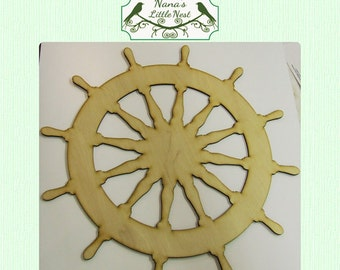 Ships Wheel / Captains Wheel  / Nautical  (Large ) Wood Cut Out -  Laser Cut