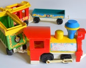 Vintage Circus Train by Fisher Price 1973 Red Blue Green Yellow. Perfect for display or to play with!  child's kid's play room, Home Decor