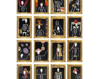 day of the dead poster, dia de los muertos poster, skeleton print, skeleton art