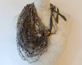 Greenish Grey Leather & Paper Thread Crocheted Necklace w/ Mother of Pearl Beads