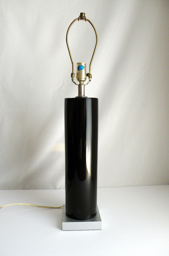 glossy black and silver vintage table lamp 70s modern. Black Bedroom Furniture Sets. Home Design Ideas