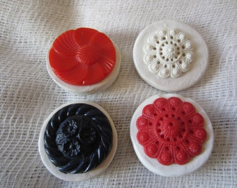 SALE MAGNETS Four Vintage Button & Ceramic Magnets Kitchen Decor Holiday Gift