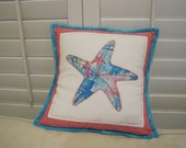 Starfish Pillow -  Patchwork, appliqued and quilted