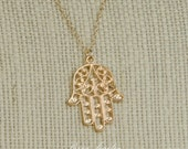 GOING OUT of BUSINESS Hamsa Hand Necklace - Hamsa Jewelry - Gold Plated Necklace - Fatima Pendant