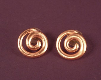 Ann Klein Brushed Goldtone Post Earrings, Circle Swirl