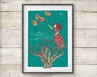 Kate Bush Kite Poster - Diamond Kite Lyric Kate Bush Print