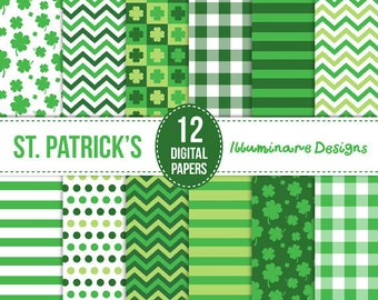 SALE St Patricks Day Digital Paper: Green Shamrock Digital Scrapbooking Paper, St Pattys Day Seamless Patterns - Instant Download