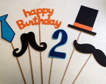 6 Piece Mustache Little Man Centerpiece Set, Little Man Birthday,