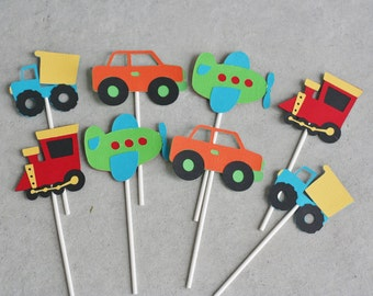 12 Transportation Toppers, Car Truck Birthday, Car Party, Airplane and Train Birthday, Transportation Birthday, Car Cupcake topper, Train